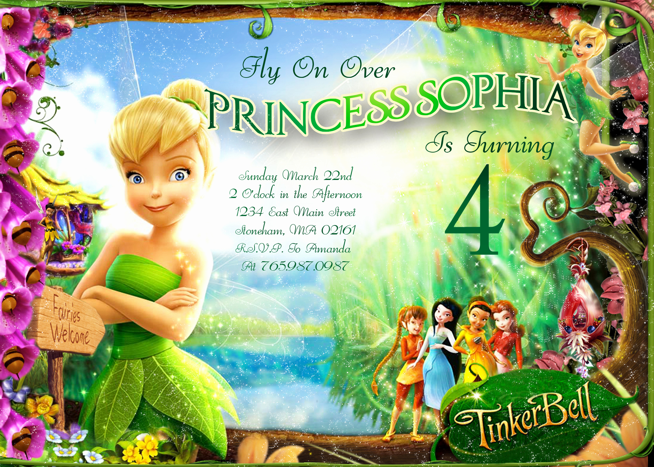 Tinkerbell Invitation Template Free Best Of Tinkerbell Fly Over Birthday Invitation – Printable