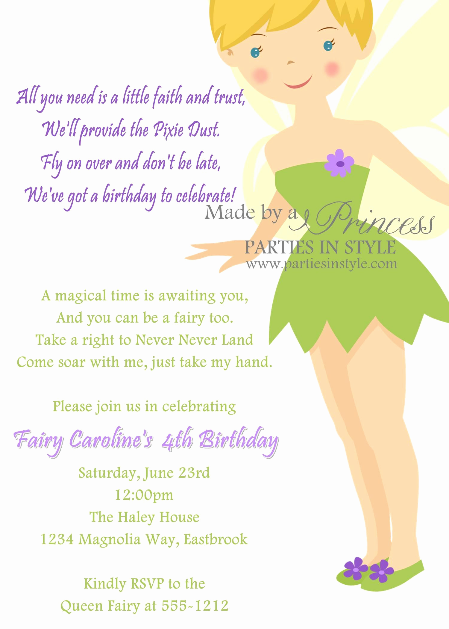 Tinkerbell Invitation Template Free Elegant Birthday Invitation Princess Series Tinkerbell