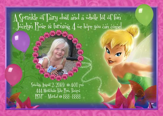 Tinkerbell Invitation Template Free Inspirational Tinkerbell Custom Birthday Invitations