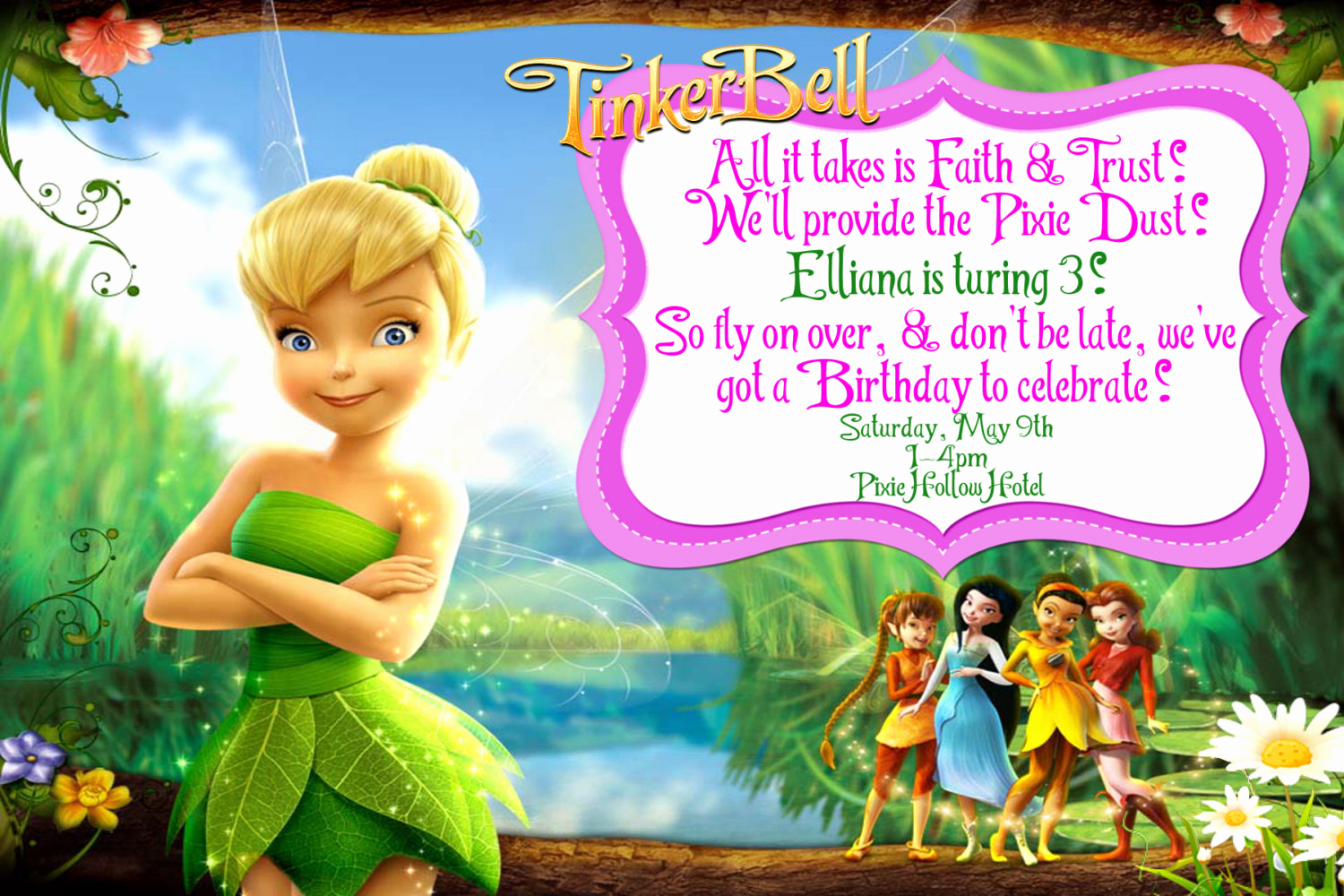 Tinkerbell Invitation Template Free Inspirational Tinkerbell Invitation Tinkerbell Invite by