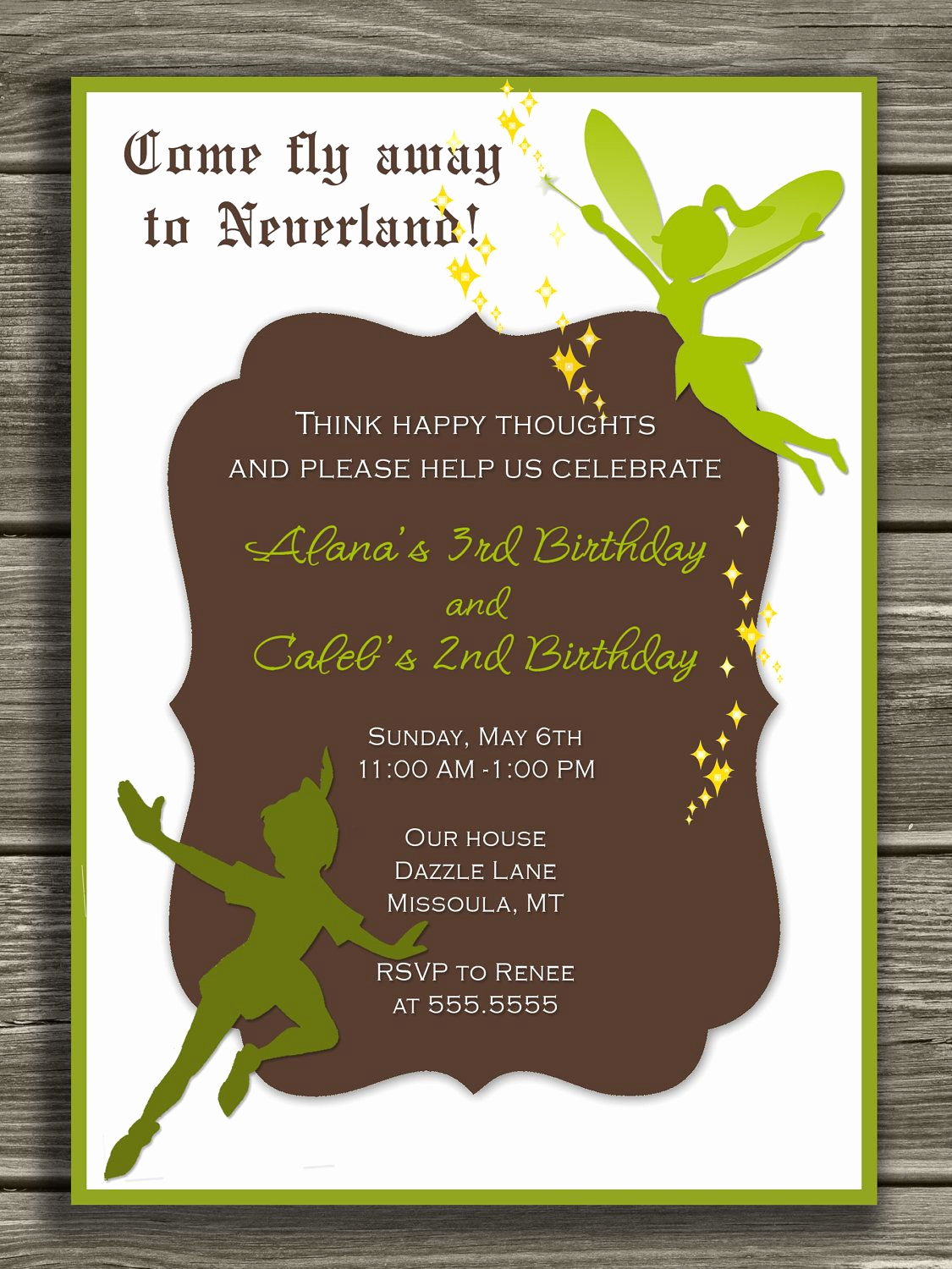 Tinkerbell Invitation Template Free Unique Peter Pan and Tinkerbell Invitation Free Thank You Card