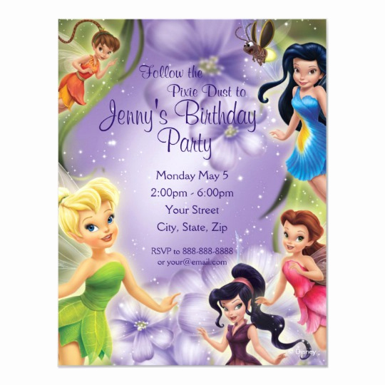 Tinkerbell Invitation Template Free Unique Tinker Bell and Friends Birthday Invitation