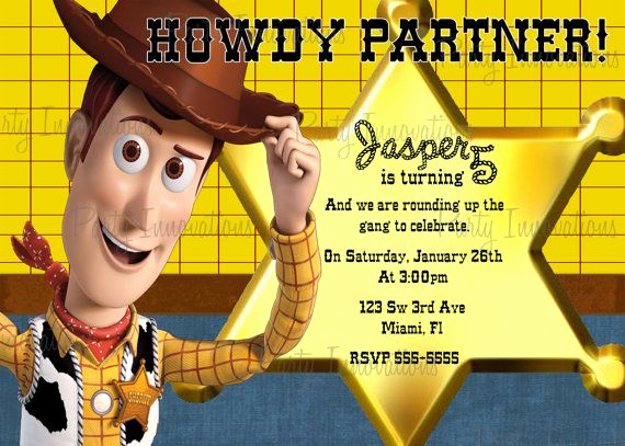 Toy Story Invitation Template Download Elegant Printable toy Story Woody Inspired Birthday Party