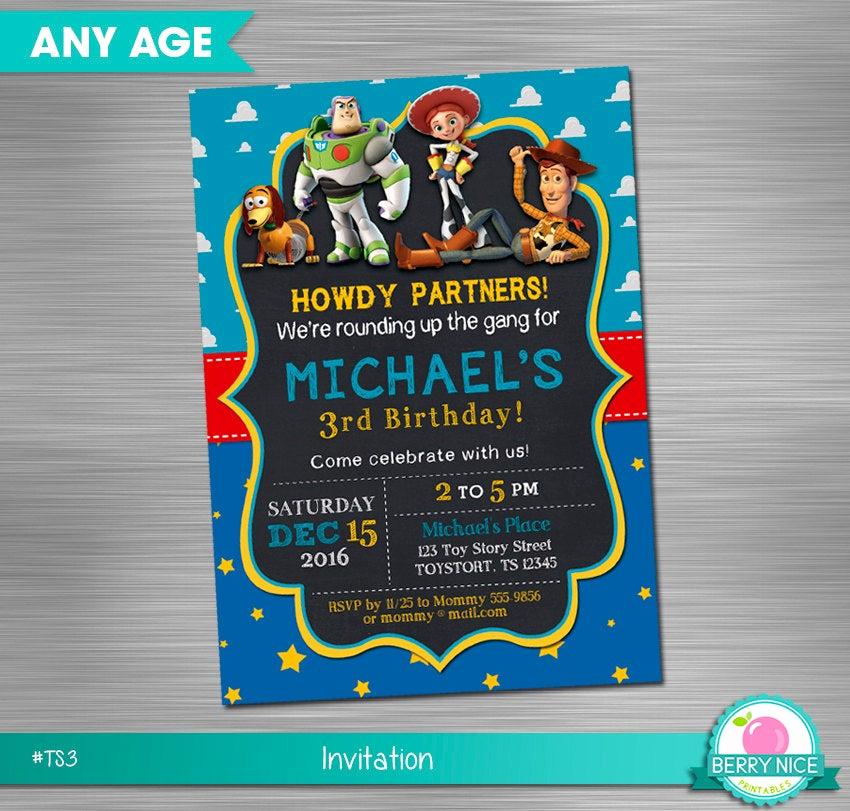 Toy Story Invitation Template Download Lovely toy Story Print Yourself Invitation toy Story Birthday