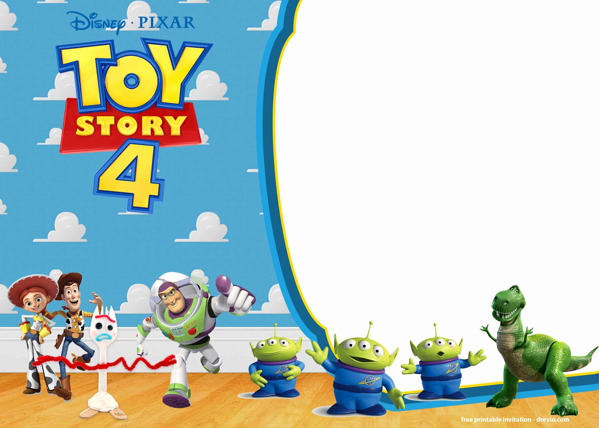 Toy Story Invitation Template Free Awesome Free Printable toy Story 4 Invitation