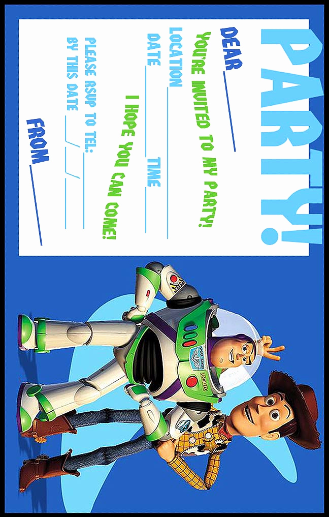 Toy Story Invitation Template Free Beautiful Free toy Story Woody and Buzz Lightyear Party Invitation