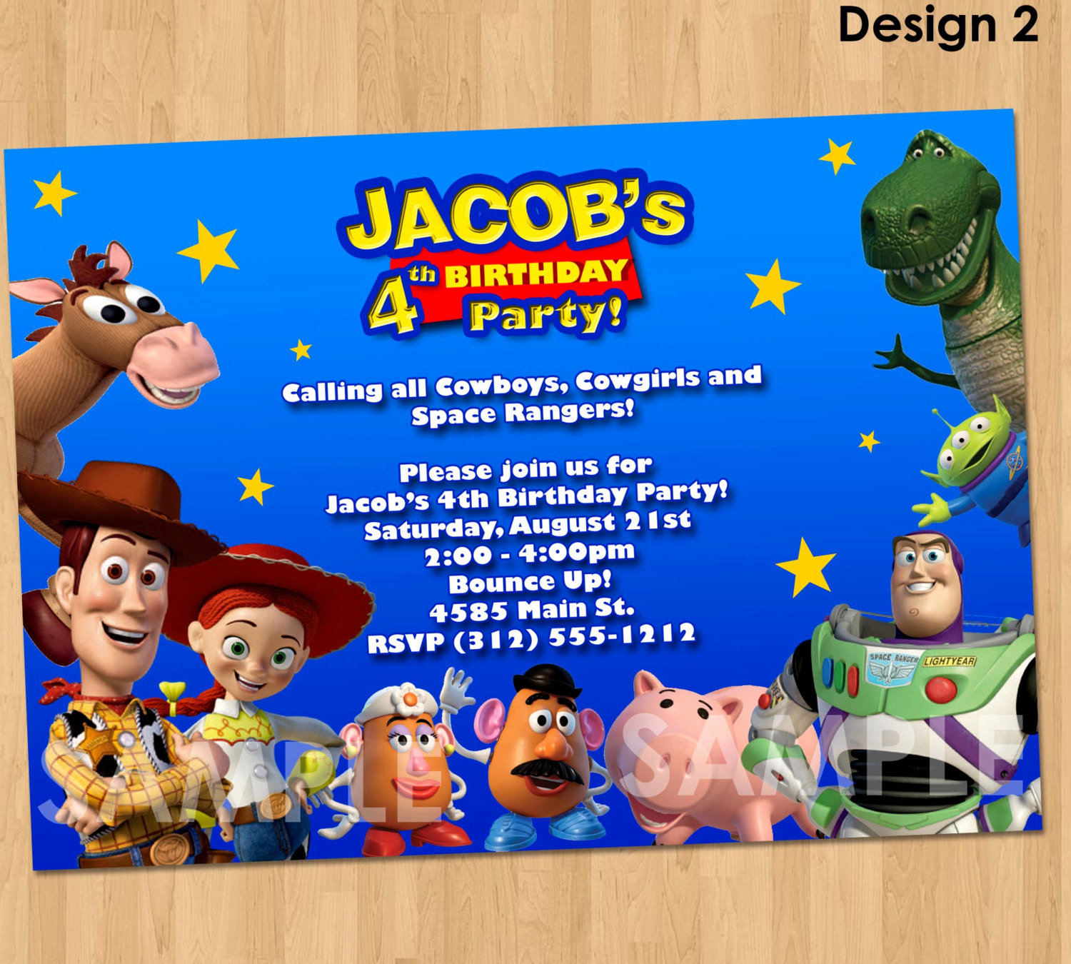 Toy Story Invitation Template Free Beautiful toy Story Invitation toy Story Invite Custom Personalized