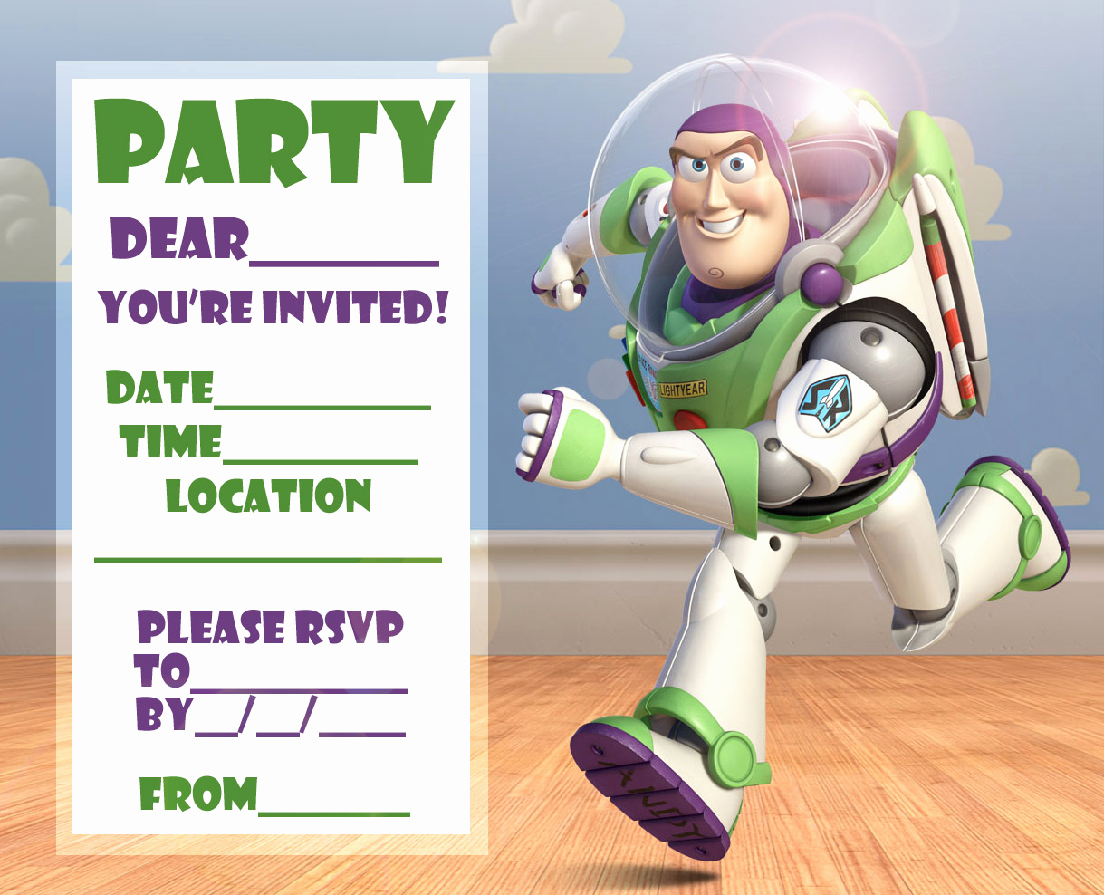 Toy Story Invitation Template Free Fresh Free toy Story Woody and Buzz Lightyear Party Invitation