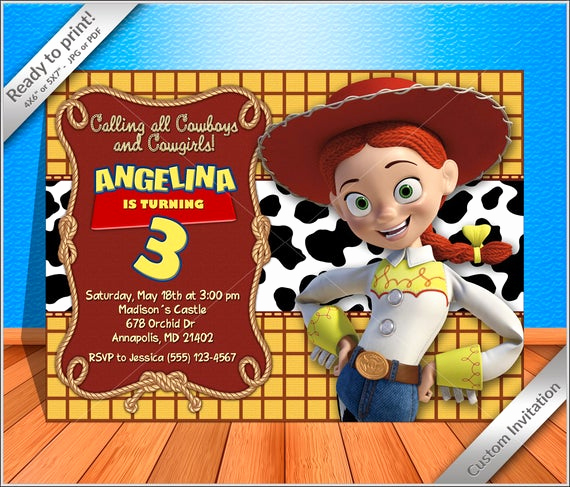 Toy Story Invitation Template Free Fresh Off Sale Jessie Cowgirl Birthday Invitation Jessie toy