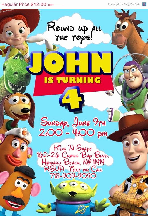 Toy Story Invitation Template Free Inspirational toy Story Birthday Invitation On Etsy $10 00