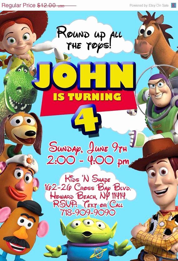 Toy Story Invitation Template Free Inspirational toy Story Birthday Invitation On Etsy $10 00