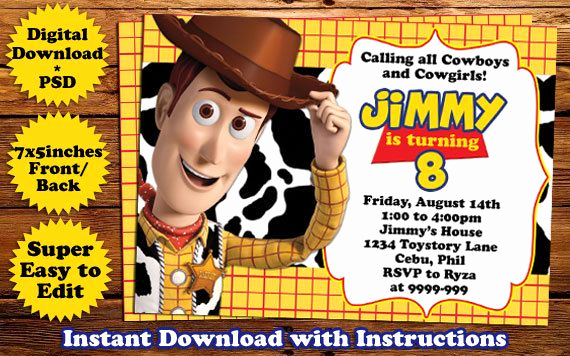 Toy Story Invitation Template Free Lovely Instant Download toys Story Woody Birthday Invitation