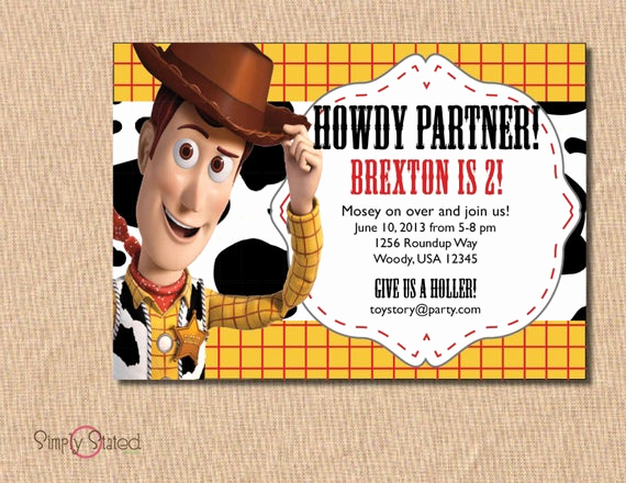 Toy Story Invitation Template Free Unique Items Similar to toy Story Birthday Invitation Woody