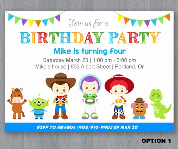 Toy Story Invitation Template Fresh toy Story Birthday Invitation toy Story Invitation by