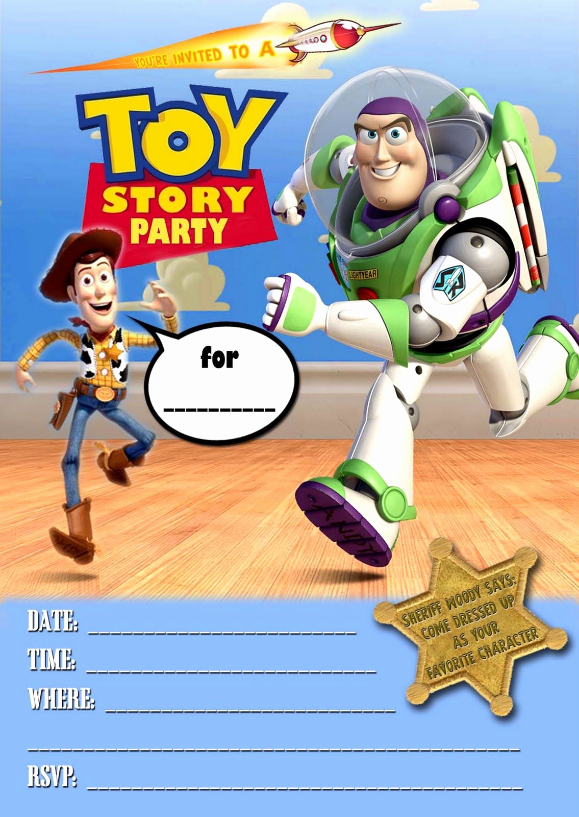 Toy Story Invitation Template Luxury Free Kids Party Invitations toy Story Party Invitation