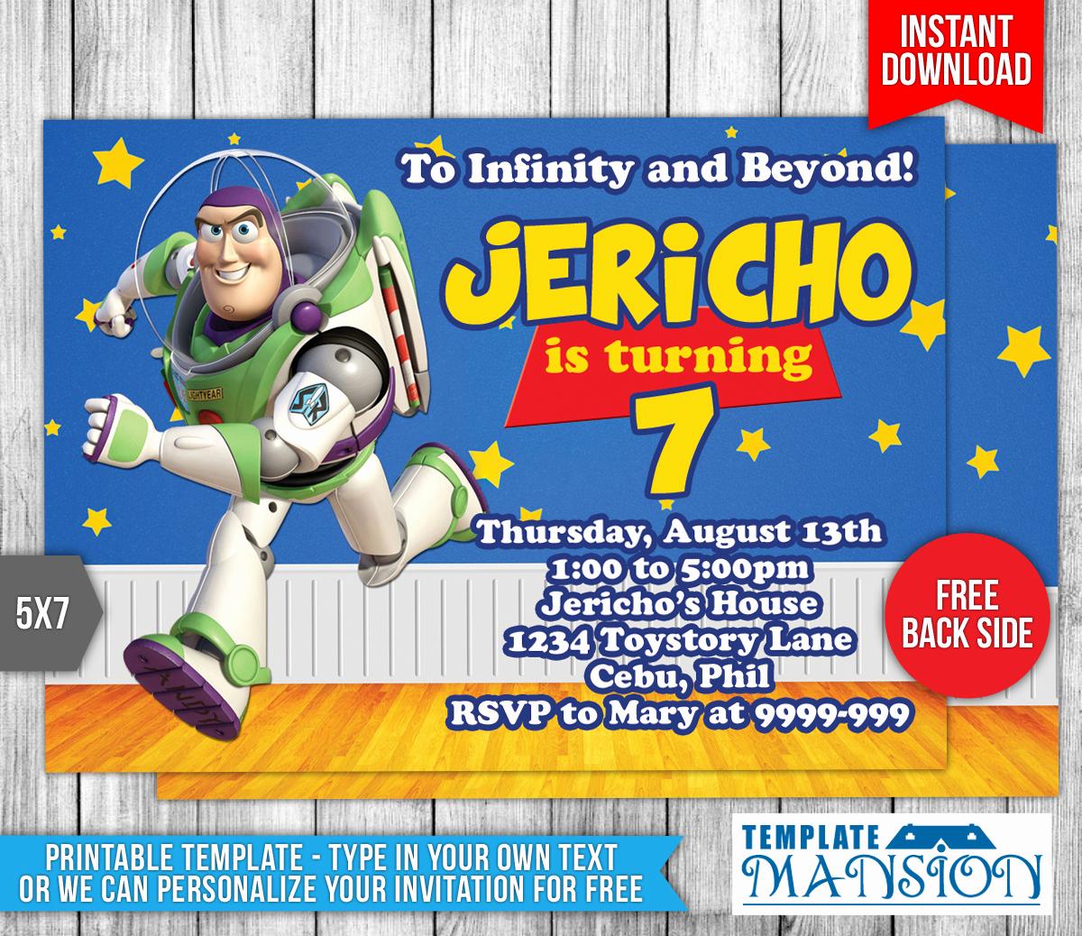 Toy Story Invitation Templates Free Luxury Buzz Lightyear toy Story Birthday Invitation by