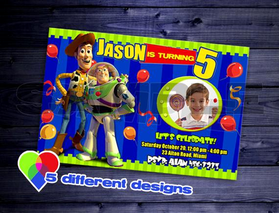 Toy Story Invitation Templates Luxury toy Story Invitation Birthday Party Invite Photo Custom Card