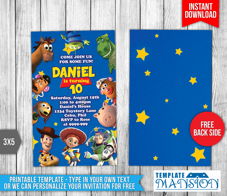 Toy Story Invitation Templates New Disney S toy Story Birthday Invitation by Templatemansion