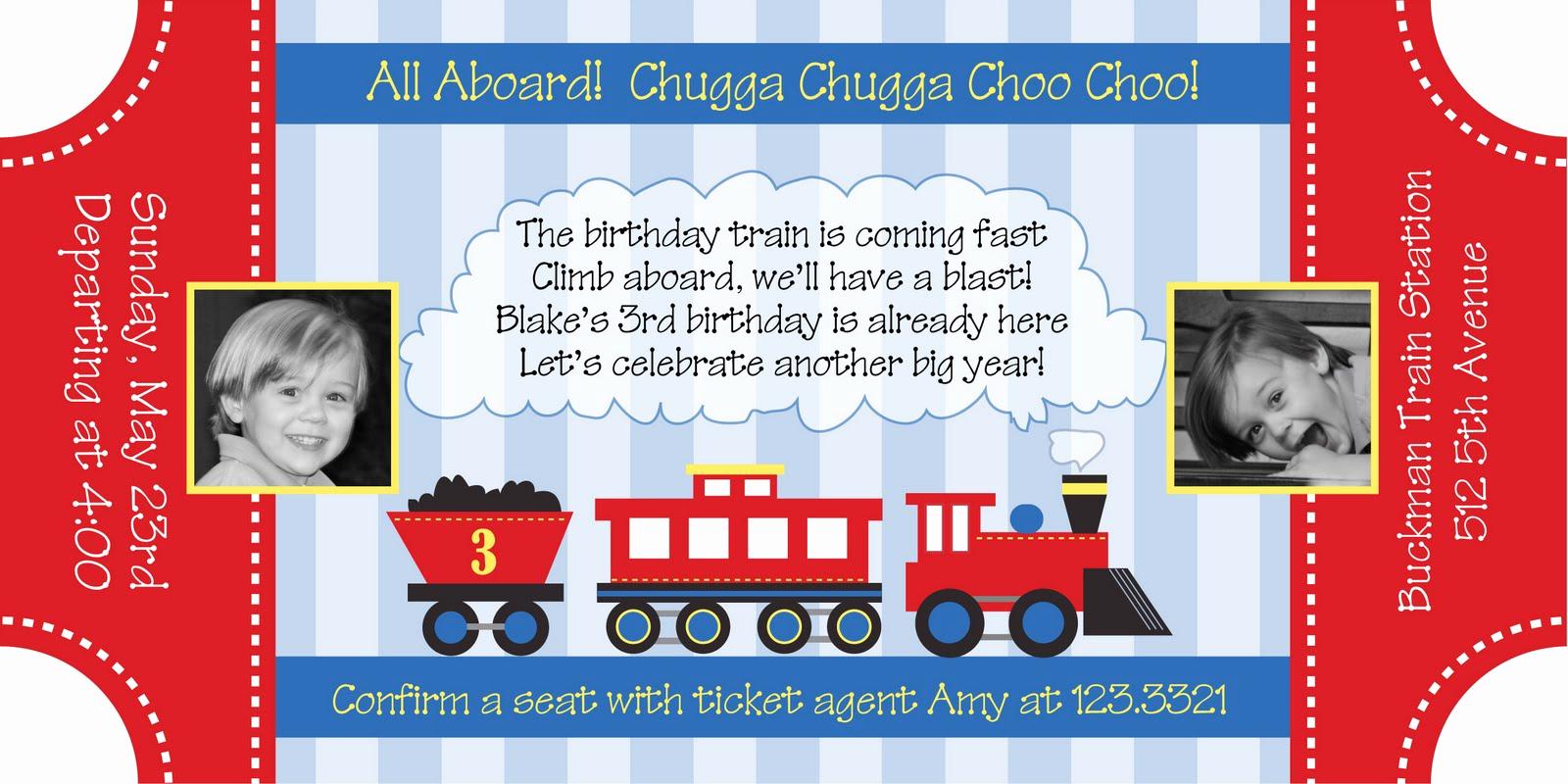 Train Ticket Birthday Invitation Beautiful All Aboard the Choo Choo Train Party anders Ruff Custom