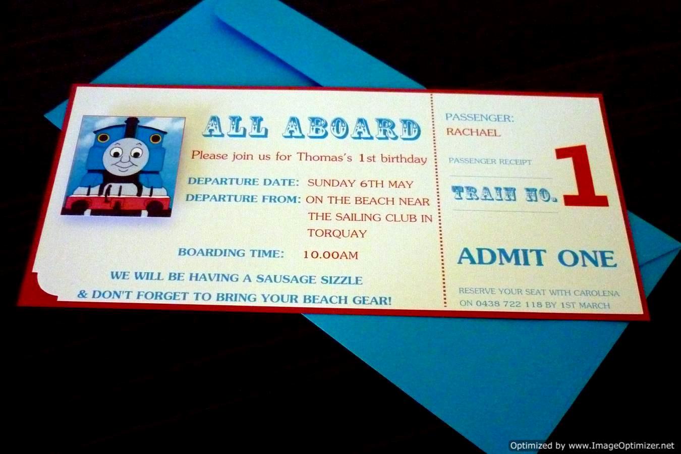 Train Ticket Birthday Invitation Beautiful Thomas the Tank Engine Train Ticket Style Birthday Invitations