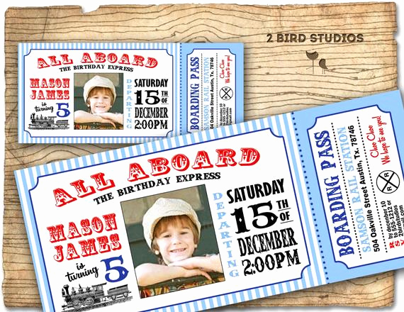 Train Ticket Birthday Invitation Beautiful Train Invitation Vintage Train Birthday Invite by 2birdstudios