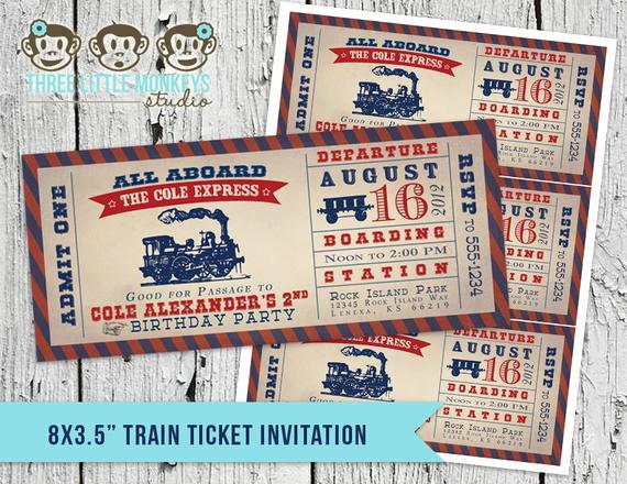Train Ticket Birthday Invitation Beautiful Vintage Train Ticket Invitation & Matching Thank You Note