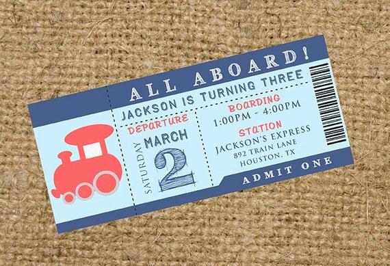 Train Ticket Birthday Invitation Best Of Choo Choo All Aboard Train Birthday Party Ticket