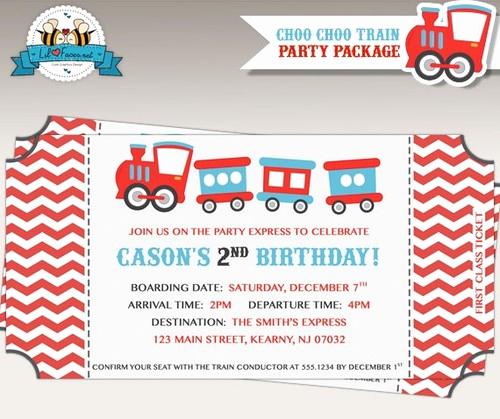 Train Ticket Birthday Invitation Elegant Choo Choo Train Birthday Party Invitation Train Ticket