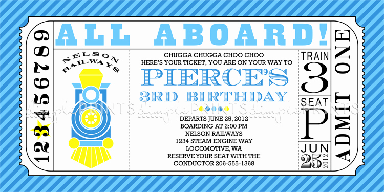 Train Ticket Birthday Invitation Elegant Train Ticket Printable Birthday Invitation Dimple Prints