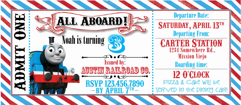 Train Ticket Birthday Invitation Inspirational Thomas the Train Ticket Party Invitation by Rawkonversations