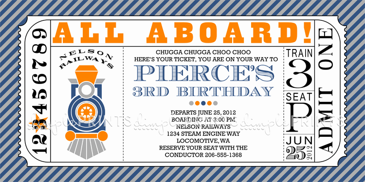 Train Ticket Birthday Invitation Lovely Train Ticket Printable Invitation Dimple Prints Shop