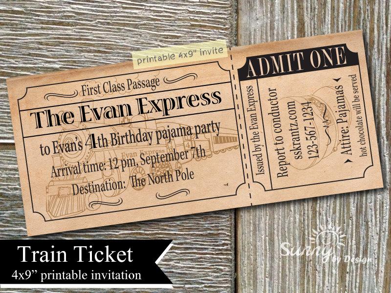 Train Ticket Birthday Invitation Lovely Vintage Train Ticket 4x9 Printable Invitation