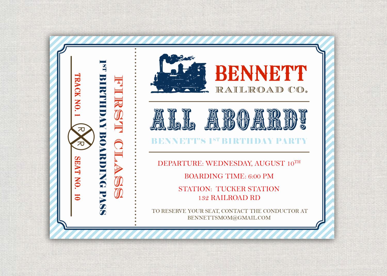 Train Ticket Birthday Invitation New Vintage Train Ticket Birthday Party Invitation by