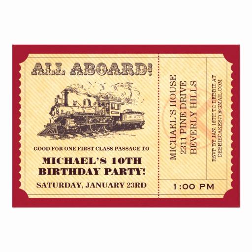 """Train Ticket Birthday Invitation Unique Train Ticket Invitations 5"""" X 7"""" Invitation Card"""