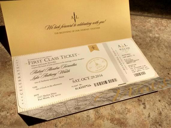 Travel theme Wedding Invitation Elegant Aviation Airplane Travel themed Wedding Invitation