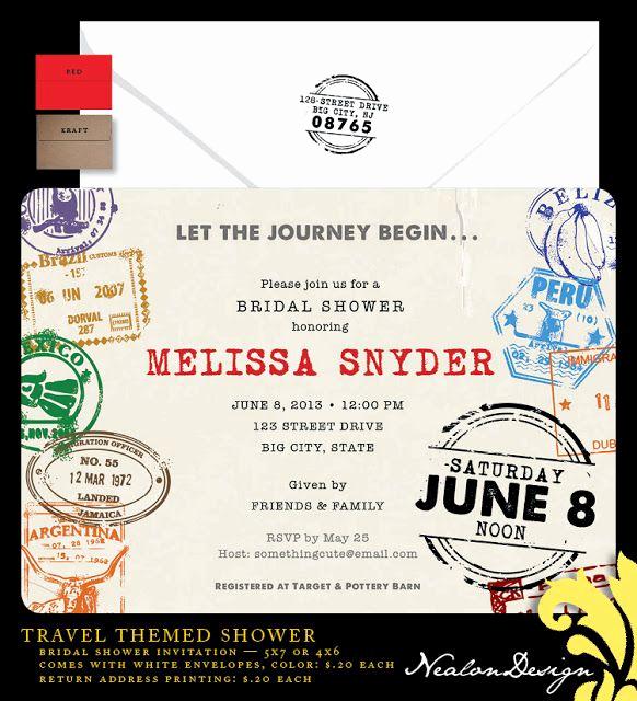 Travel theme Wedding Invitation Elegant Nealon Design Travel Bridal Shower Invitation