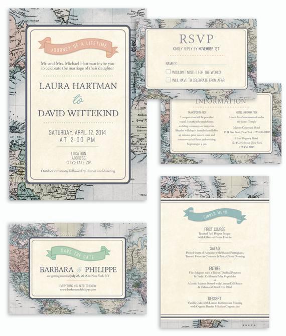 Travel theme Wedding Invitation Luxury Rustic & Vintage Travel theme Wedding Invitation