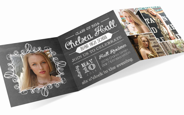 Tri Fold Graduation Invitation Beautiful Graduation Invite Tri Fold Invitation Chalkboard Invite