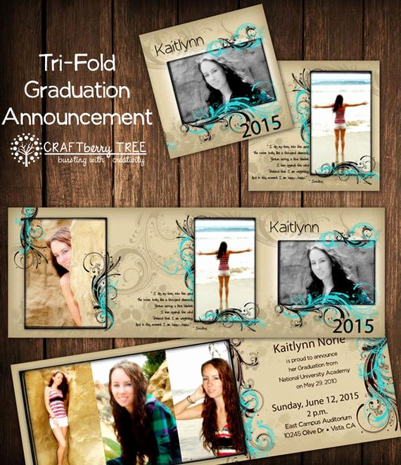 Tri Fold Graduation Invitation Elegant Tri Fold Graduation Announcement
