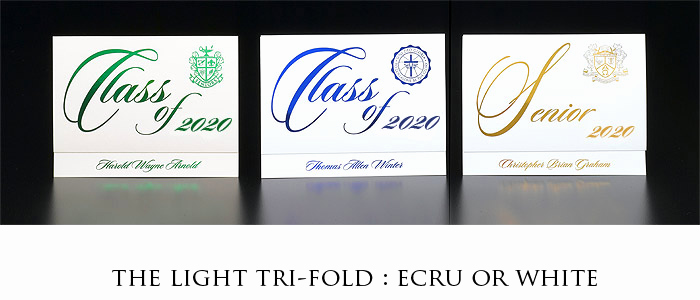 Tri Fold Graduation Invitation Elegant White and Ecru Tri Fold Graduation Announcements