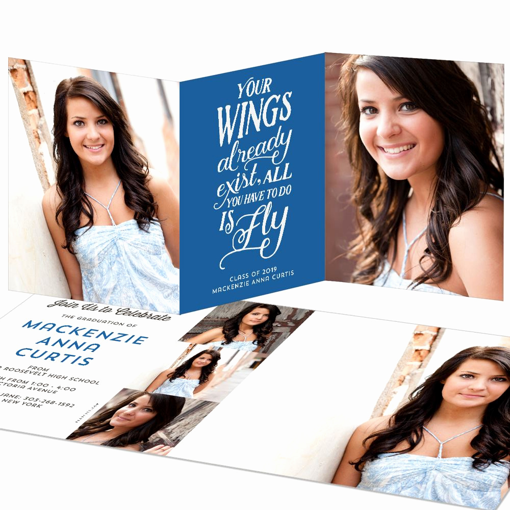 Tri Fold Graduation Invitation Elegant Your Wings Trifold Graduation Announcement
