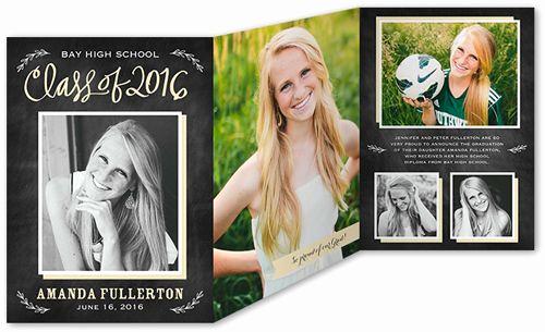 Tri Fold Graduation Invitation Lovely Memorable Class 5x7 Tri Fold Stationery Card by Stacy