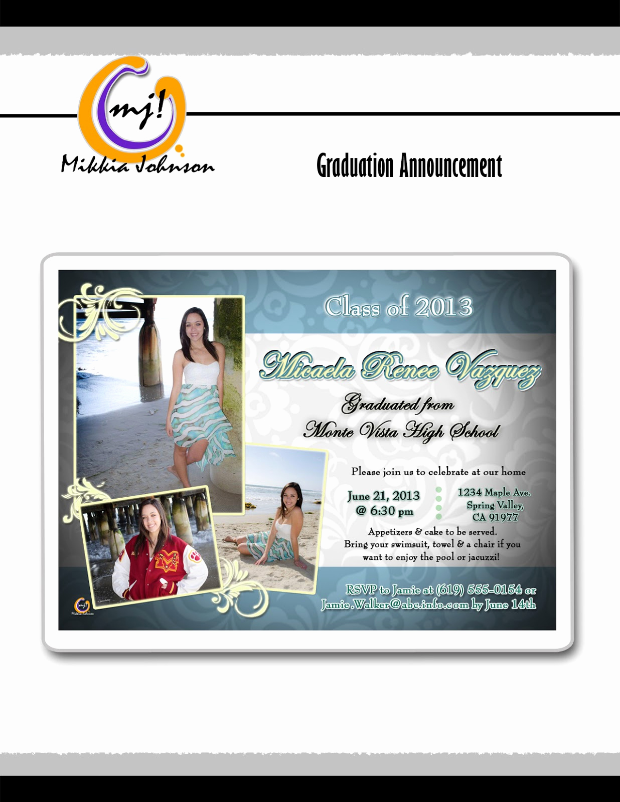 Tri Fold Graduation Invitation Templates Fresh Mikkia Johnson Graduation Announcement