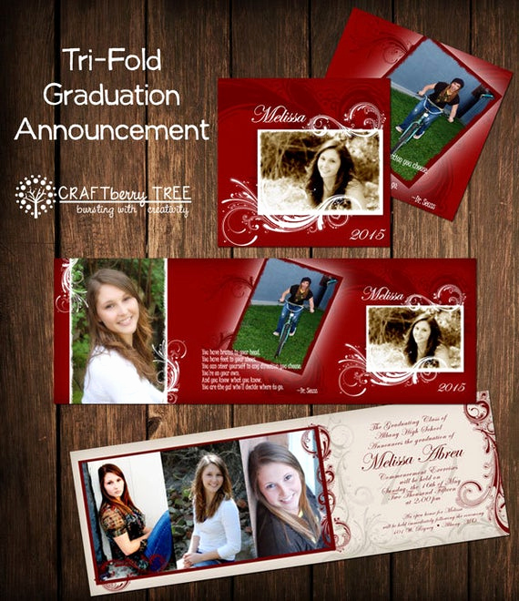 Tri Fold Graduation Invitation Templates Fresh Tri Fold Graduation Announcement Red