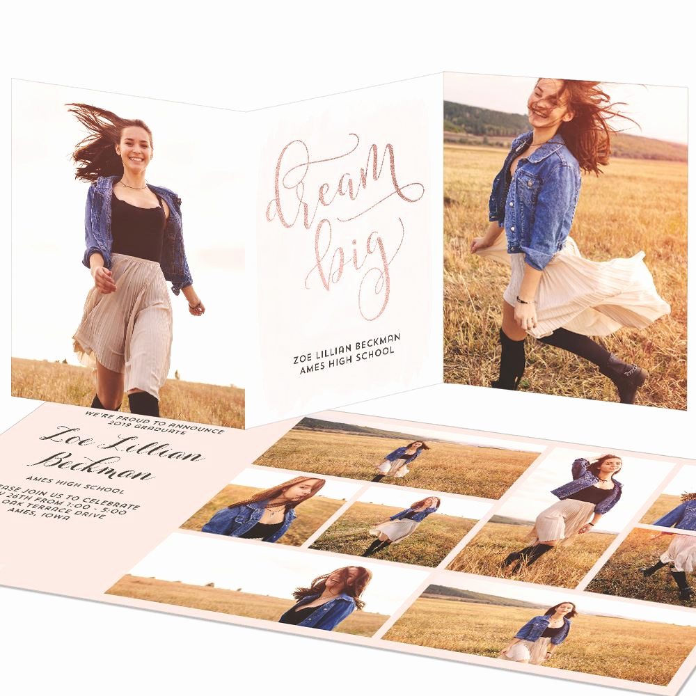 Tri Fold Graduation Invitation Templates Inspirational Dream Big Trifold Graduation Announcements