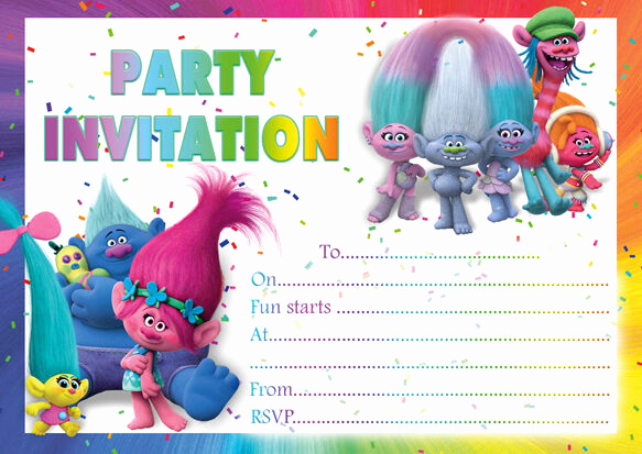 Trolls Invitation Template Free Beautiful 10 X Trolls Birthday Party Invitations or Thank You Cards