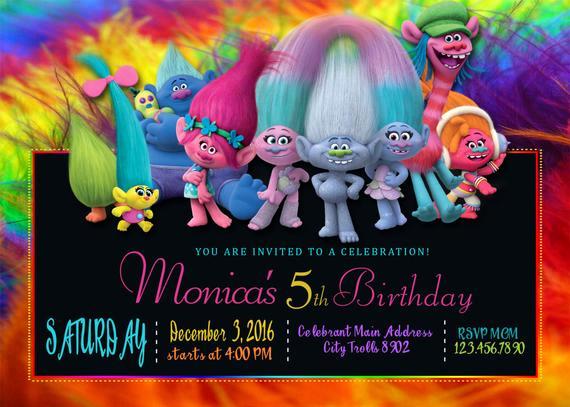 Trolls Invitation Template Free Beautiful Trolls Birthday Invitation Trolls Invitations Trolls
