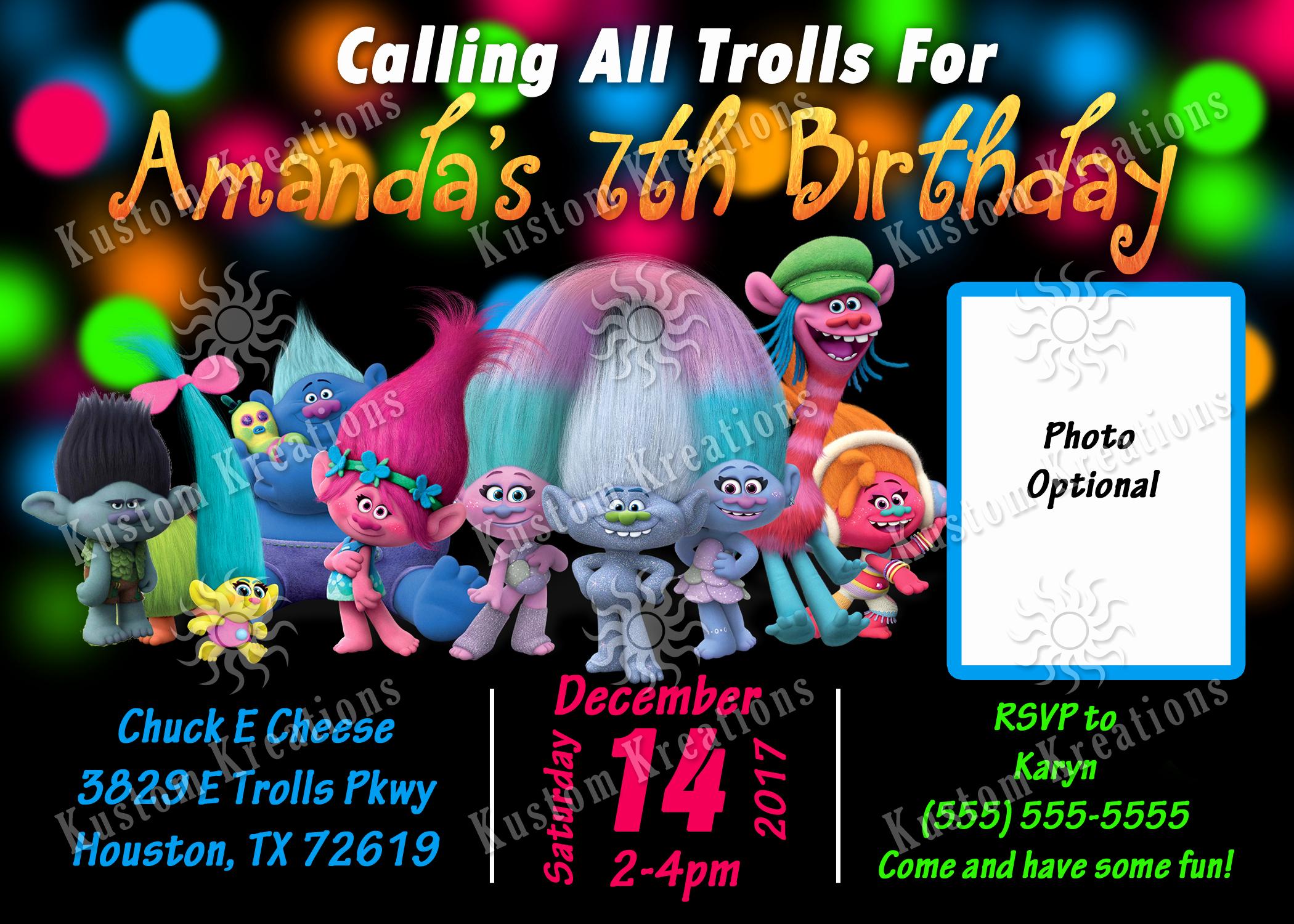 Trolls Invitation Template Free Beautiful Trolls Birthday Invitations