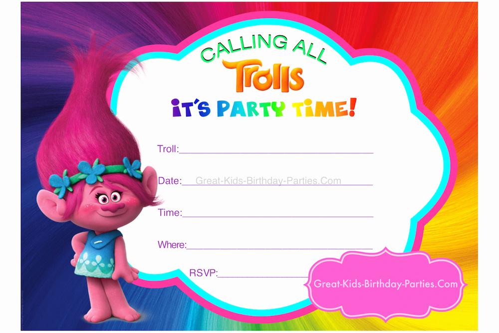 Trolls Invitation Template Free Beautiful Trolls Party