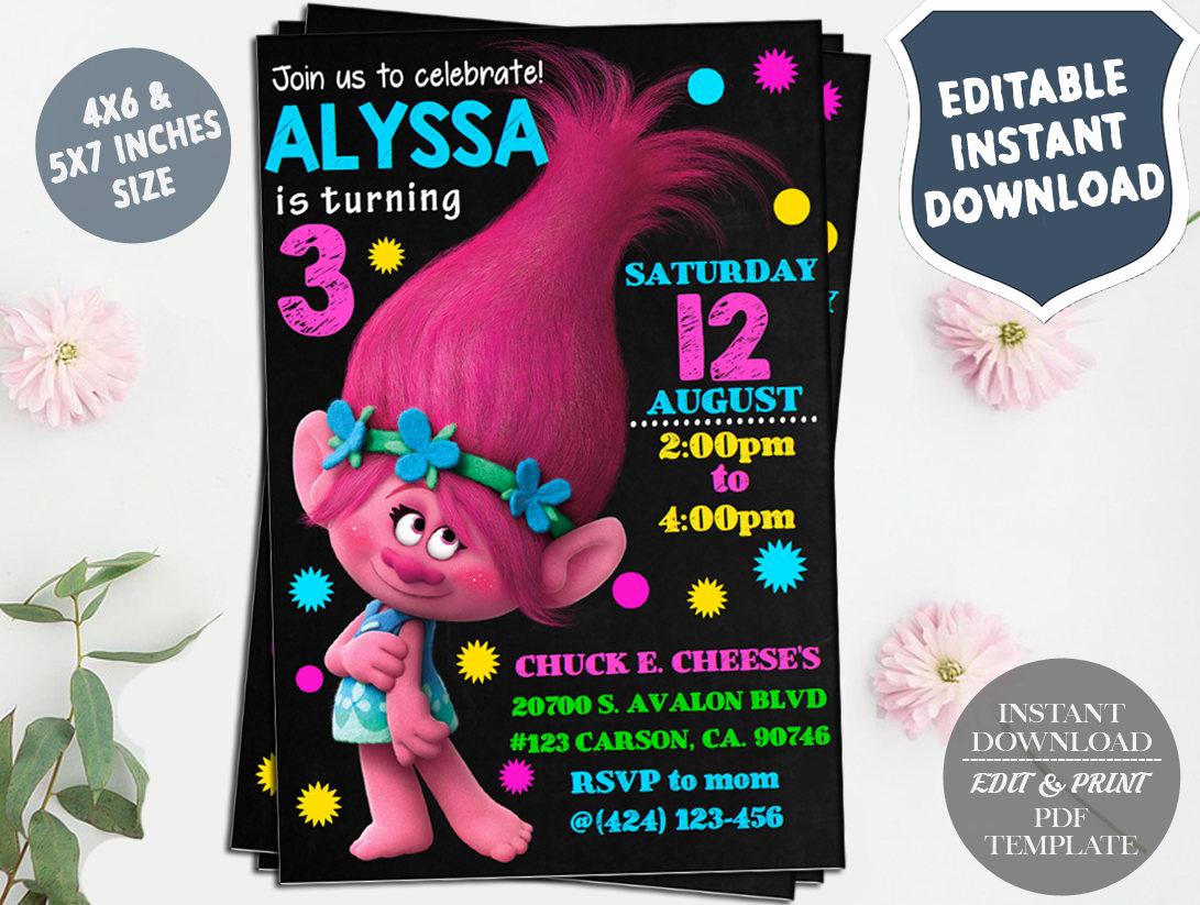Trolls Invitation Template Free Inspirational Trolls Editable Birthday Invitation Template Diy Printable